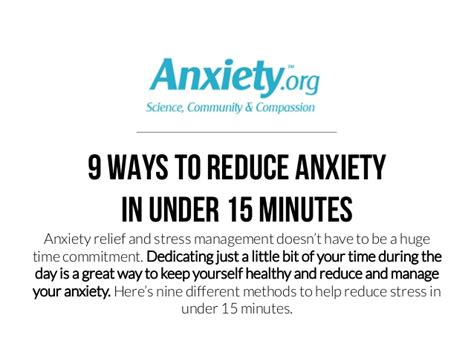 reduce anxiety 9 ways to reduce anxiety in under 15 minutes