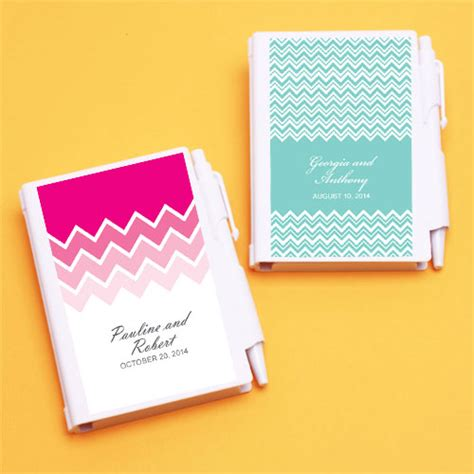 zigzag personalized notebook favor bridal shower favors