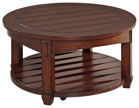 Hammary Tacoma Round Cocktail Table In Rustic Brown Rustic Brown Coffee Table