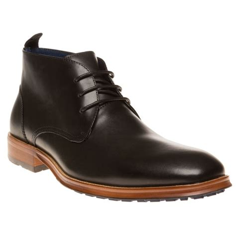 new mens sole black space leather boots chukka lace up ebay