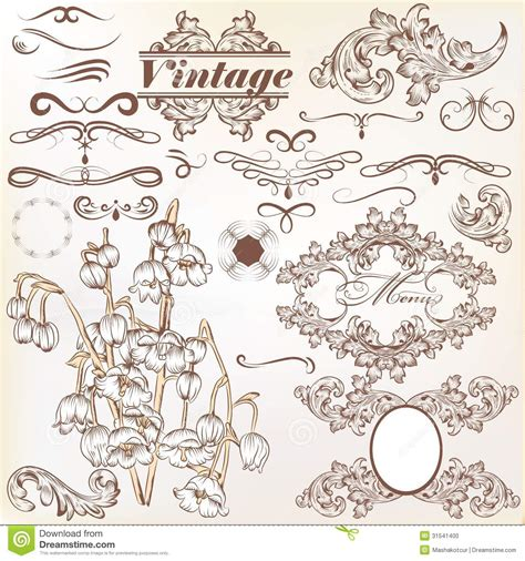 calligraphic vintage design elements vector set vector set of calligraphic vintage elements and page