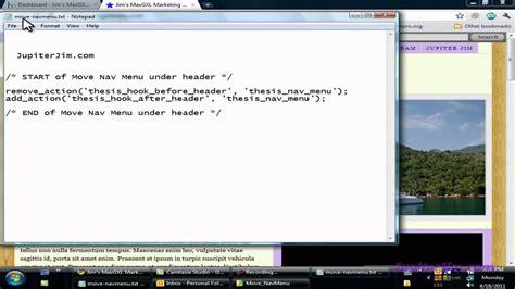 tutorial wordpress header thesis tutorial move navigation menu under header using