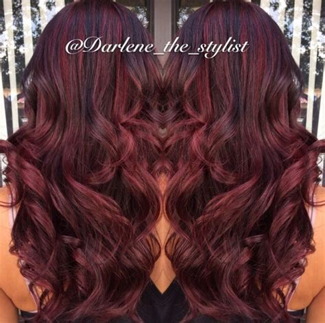 red and high and lowlight hairstyles red balayage with dark brown lowlights hair pinterest