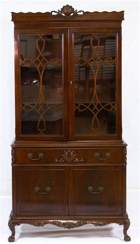 full double door cabinet lot 44 chippendale style mahogany china cabinet c 1940