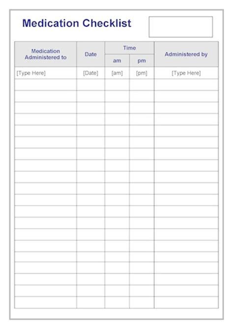 medication checklist template teacher timesavers