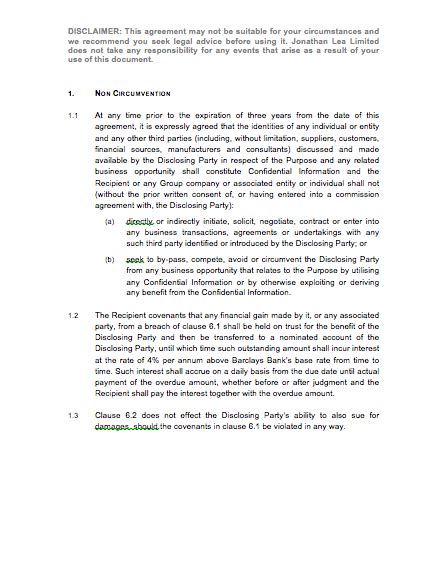 Non Circumvention Clause Template Eloquens Non Circumvention Agreement Template