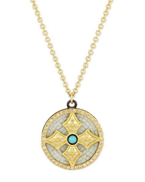 armenta 18k mosaic cross pendant necklace in metallic for