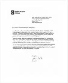 Recommendation Letter For Nurses by Sle Nursing Recommendation Letter 9 Exles In Word Pdf