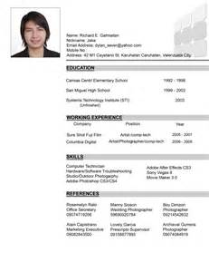 Resume Sample Format In The Philippines by Format Of Resume In The Philippines