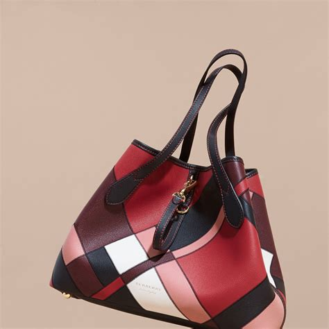 medium patchwork grainy leather tote bag in pink