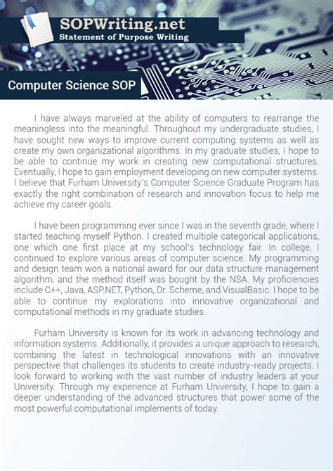 Mba Branch For Computer Science by Writing A Statement Of Purpose Computer Science