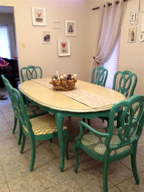 painted dining room set antique 1960s turquoise dining table and chairs painted