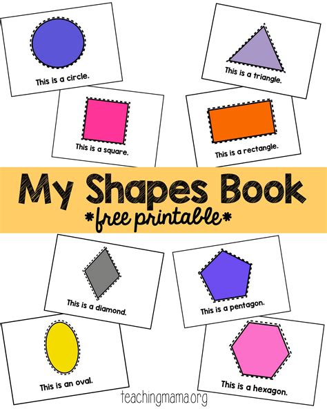 printable shapes book for preschool shape rhymes teaching mama