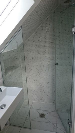 Attic Shower Enclosures by Small Hinged Shower Door And Side Panel Screen In Attic