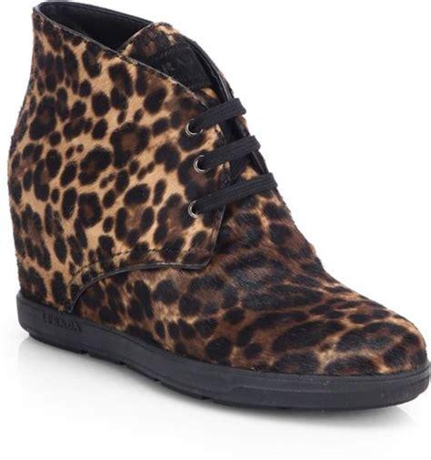 leopard wedge sneakers prada leopardprint calf hair wedge sneakers in animal