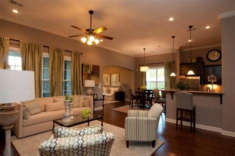 open floor plan kitchen living room and hearth room