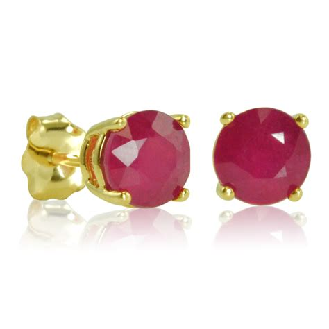 Ruby 5 1ct 1ct tw ruby stud earrings in 10k yellow gold ebay