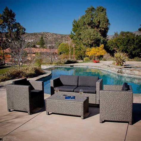 adorable gray wicker patio furniture set