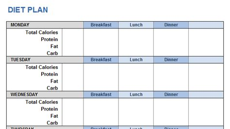 Weight Training Plan Template For Excel Diet Plan Template