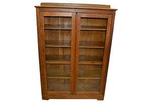 Oak Bookshelves With Glass Doors Golden Oak Bookcase W Glass Doors