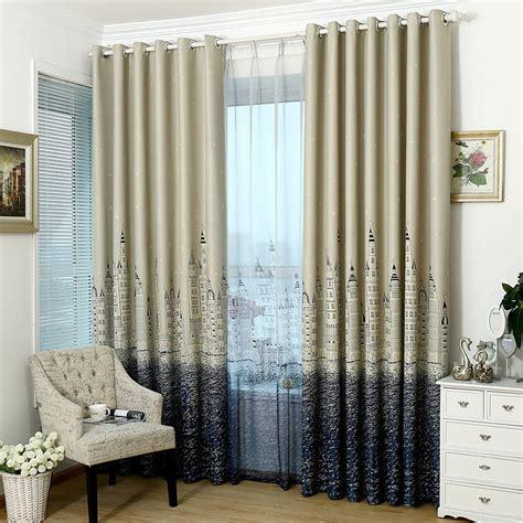 kids bedroom castle patterns wide blackout curtains