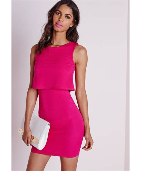 Pink Layered Dress by Lyst Missguided Layered Bodycon Dress Pink In Pink