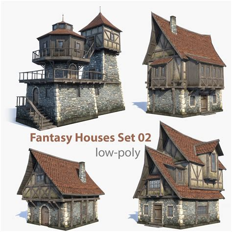 fantasy houses set of 4 low poly game 3d models of medieval fantasy