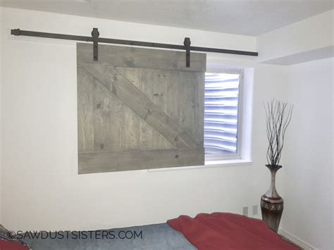 diy barn door style window covering sawdust - Barn Door Window Covering Plans