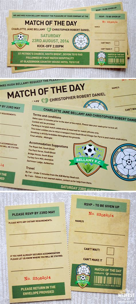 football themed wedding stationery wedfest