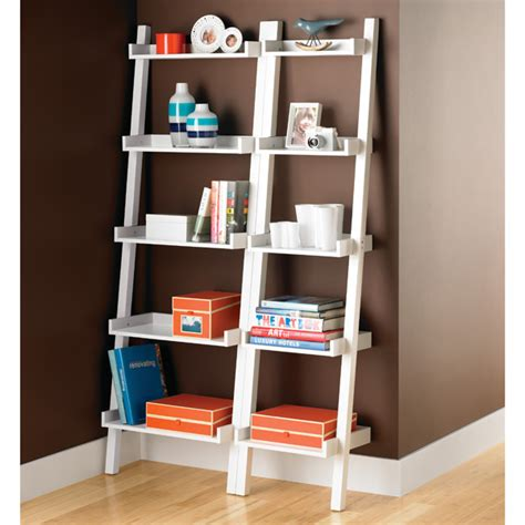 Narrow Leaning Bookcase white linea narrow leaning bookcase the container store