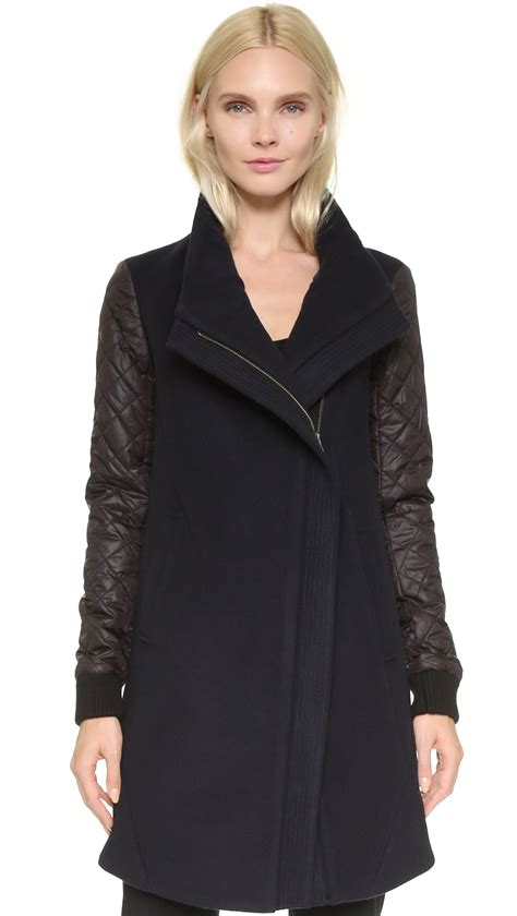 tess giberson wool coat with quilted sleeves navy black