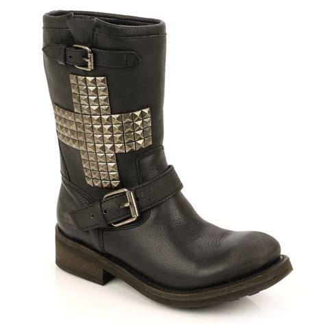 black leather biker boots buy ash temptation black leather studded biker boot ash