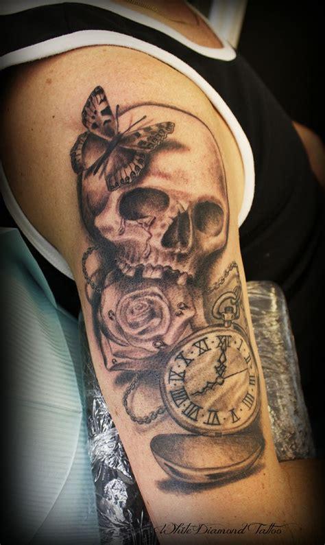 tattoo diamond sleeves skalle klocka fj 228 ril och fickur tatuering gjord p 229