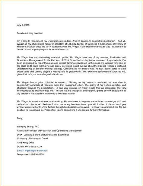 Letter Of Recommendation From Research Supervisor 10 Letter Of Recommendation Research Academic Resume Template