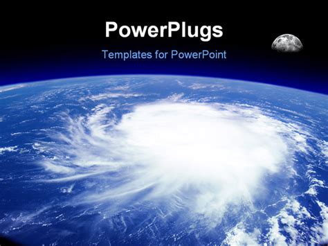 Iew From Space Of A Giant Hurricane Over The Ocean With Moon In Background Photo Montage With Hurricane Powerpoint Template Free