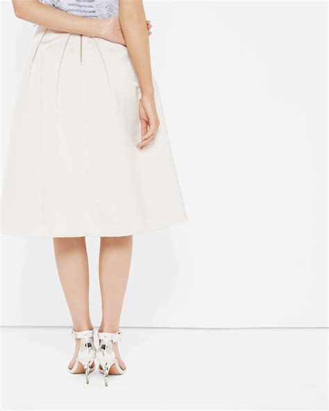High Waisted Ribbed Skort Celana Pendek ted baker high waisted ribbed midi skirt in white lyst