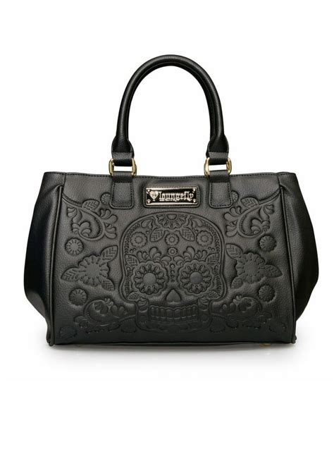Fashion Bag Skull Black T1910 1 quot sugar skull embossed quot fashion tote bag by loungefly black for the home sugar