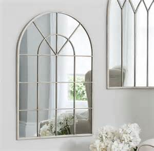 Shabby chic arched window mirror