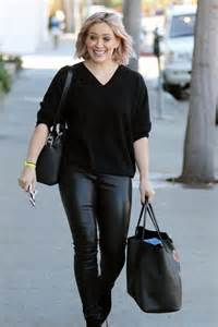 hilary duff wearing leather out in west
