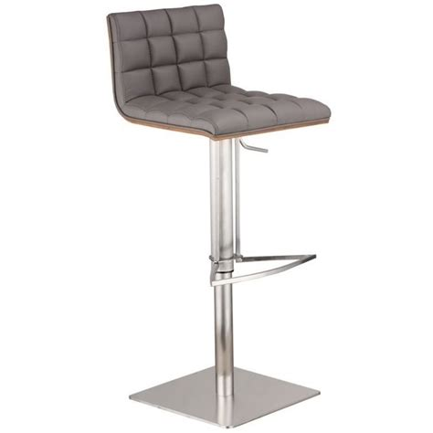 Stainless Steel Adjustable Stool by Armen Living Oslo Adjustable Stainless Steel Swivel Bar