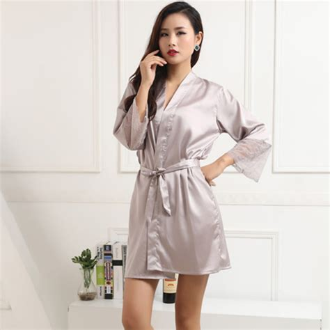 Pajama Sleeve Dress imitated silk robe sleeve nightwear sleepwear
