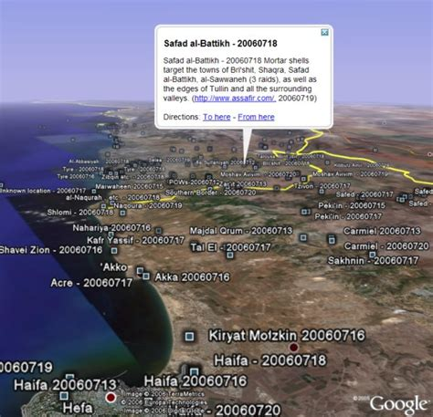 google israel israel lebanon conflict illustrated in google earth
