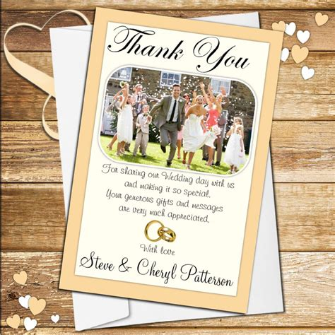 Wedding Cards Designer Vacancy by 10 Personalised Wedding Day Thank You Photo Cards N48