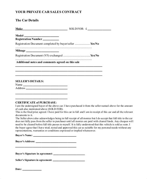 contract template for selling a car privately sle car sale contract forms 8 free documents in pdf doc