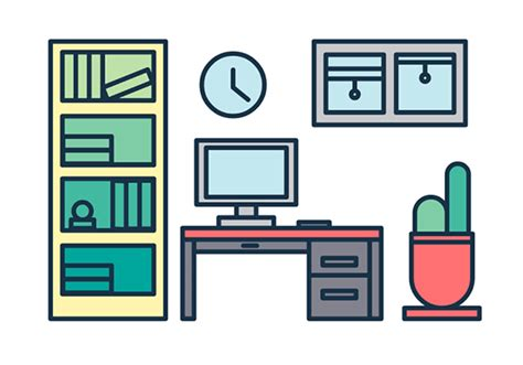 icon design office build a trendy line icon office vector scene in 15 minutes