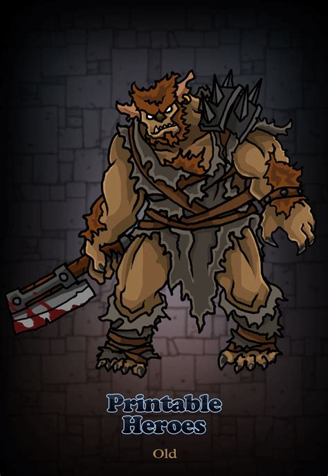 printable heroes bugbear printable heroes added a back view and updated the art