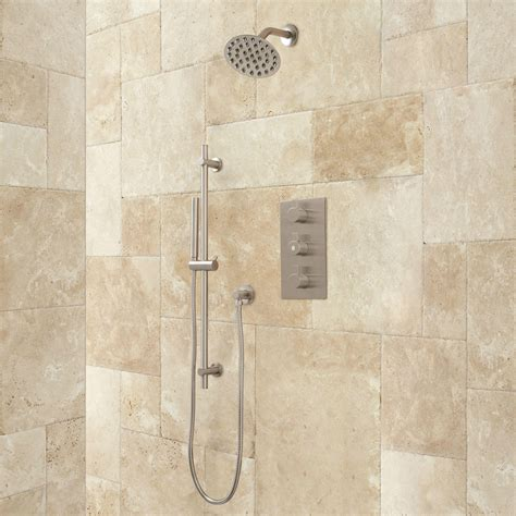 isola thermostatic shower system with wall shower modern