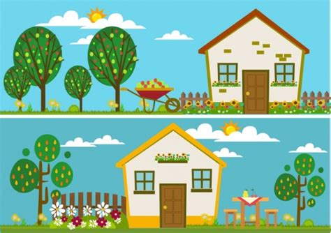 house design themes gardening work theme man growing tree sketch colorful