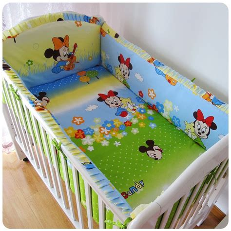 Mickey And Minnie Crib Bedding Aliexpress Buy Promotion 6pcs Mickey Mouse Baby Cot Beds Minnie Mouse Bedding High