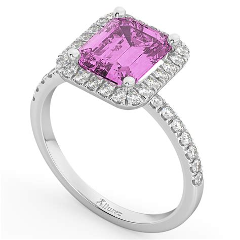pink sapphire engagement ring 14k white gold 3 32ct